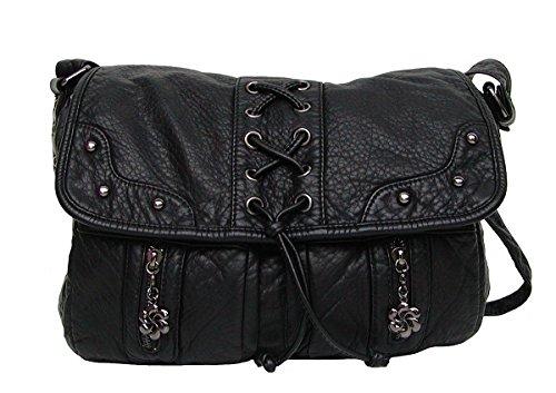 Angel kiss AK3018 große Umhänge Tasche stonewashed Leder Look schwarz, Shopper, 3 Hauptfächer, langer Trageriemen, 31x25x10 cm
