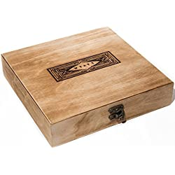 Swanky Badger Personalized Cigar Box – Wooden Cigar Holder Groomsmen Gift – Includes Custom Laser Engraving – 9 x 8.5 x 2 Inches, Vintage