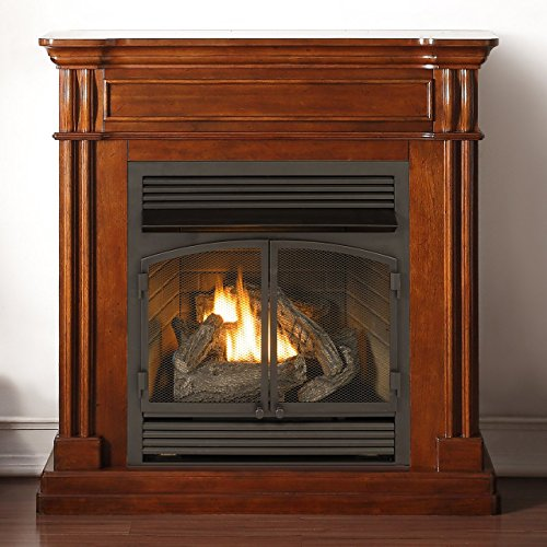 Vent Free Gas Fireplace - Duluth Forge Dual Fuel Vent Less, 32,000 BTU, T-Stat Control, Autumn Spice Finish Gas Fireplace,