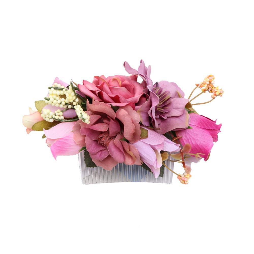Ever Fairy Hecho a mano moda peine del pelo de la flor para las mujeres niña vestido de dama de honor peine de satén peine accesorios de la pluma (C) TT-0820