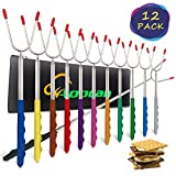 Aoocan marshmallow roasting sticks, smores skewers telescoping forks Multicolored 32 inch, Set of 12 smores sticks for fire pit & hot dog forks - Camping, Campfire, Bonfire Kids kit- free portable bag