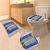 Anhuthree Country Bath Rug Set Typical Greek Style Wooden Window Shutters with Flowers Mediterranean Life Toilet Carpet Floor mat White Turquoise