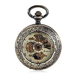 Antique Bronze Tone Clock Transparent See Though Case Steampunk Skeleton Mechanical Pocket Watch for Men Gifts Reloj De Bolsillo