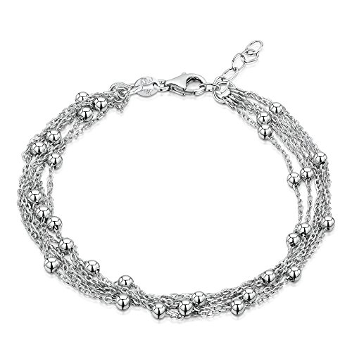 Amberta 925 Sterling Silver Adjustable Bracelet - 1.3 mm 5 Layer Trace with Beads Chain - 7