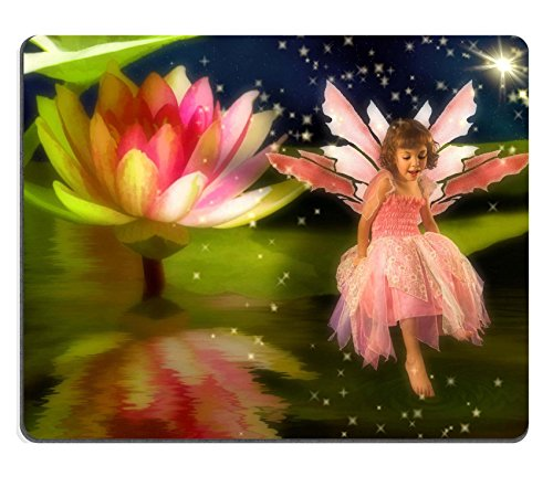 MSD Natural Rubber Mousepad IMAGE ID: 3756975 Little girl wearing a fairy dress sitting on a waterlily
