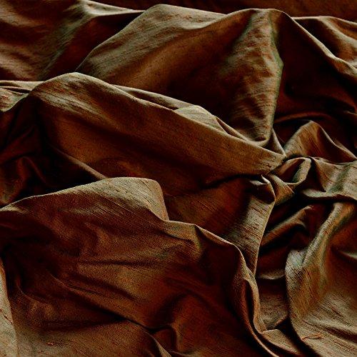 Iridescent Green Bronze Dupioni Silk, 100% Silk Fabric, By The Yard, 54