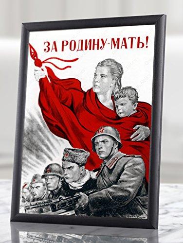 ロシアプロパガンダポスター` for theマザーランド、` ww2WWII Soviet Union壁アートPints Communist共産主義USSRレッドArmy World War 2II 2番目Military Framed額なしインテリアMilitaria 11.7x16.5