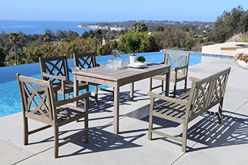 Vifah Renaissance 6 Piece Hardwood Cross Pattern Slat Back Dining Set with Classic Rectangle Table, 4' Bench and 4 Arm Chairs