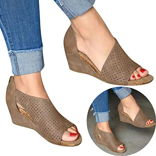 Woman Hollow Wedged Roman Sandals Comfy Fish Mouth High Water Platform Flock Leather Sandals High Heel Beach Shoes (Khaki, 6.5 M US) ()