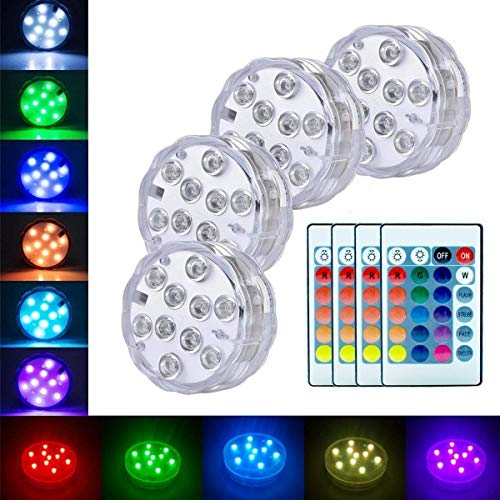 - Submersible Led Lights Battery Operated Spot Lights With Remote Small Lamps Decorative Fish Bowl Light Remote Controlled Small Led Lights For Aquarium Vase Base Pond Wedding Halloween Party (4 Pack)