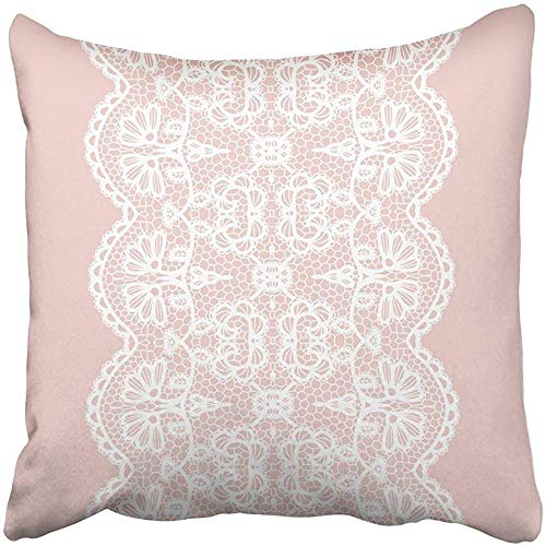 18X18 Inch Throw Pillow Cover Polyester Pink Lace White Lacy Vintage Elegant Trim Border Edging Flower Abstract Beautiful Crochet Cushion Decorative Pillowcase Square Two Side Print Home