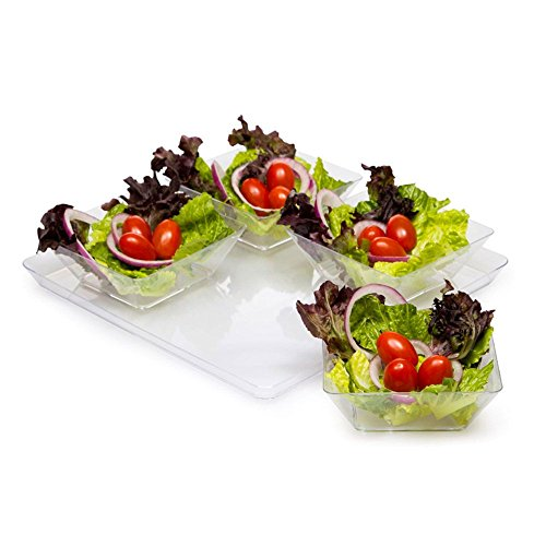 Creative Converting 11.5-Inch Square Plastic Serving Tray, Clear ()