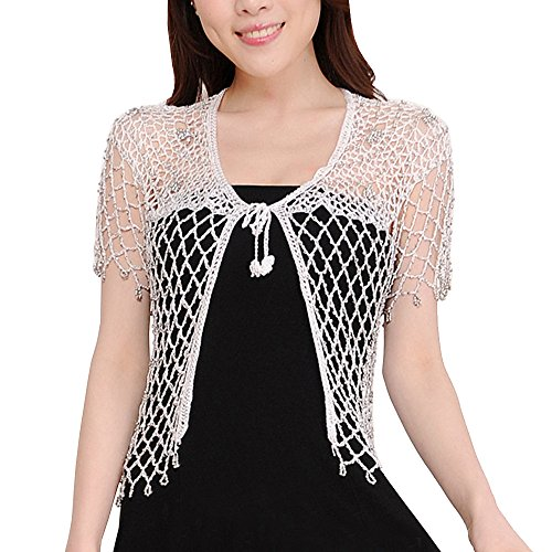 - Sheicon Women Lace Hollow Out Handmade Open Front Shrugs for Dress Rhinestone Color White Size One Size
