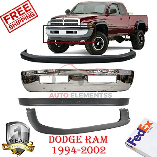 Front Bumper for 1994-2001 Dodge Ram 1500 2500 3500 W/Valance & Bumper Cover Without Holes for Tow Hook & License Plate OE Replacement Set of 4 CH1000160 CH1000232 CH1090124 CH1002256