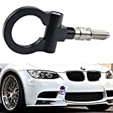 Dewhel JDM Aluminum Track Racing Front Rear Bumper Car Accessory Auto Trailer Ring Eye Towing Tow Hook Kit Black Screw On For BMW 1 3 5 Series X5 X6 E36 E39 E46 E82 E90 E91 E92 E93 E70 E71 MINI Cooper