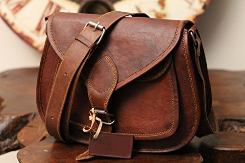FeatherFeel Distressed Leather Purse Vintage Style Genuine Brown Leather Cross Body Shoulder Bag Handmade Purse 9x7x3 inches Brown