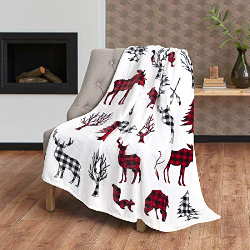 (Safdie & Co. Flannel Printed Ribbed 50x60 Wildlife Ultra Soft Throw, Navy Blue)