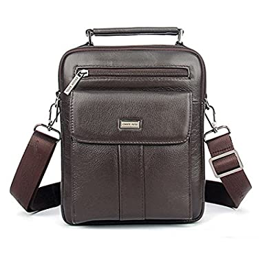 Men Genuine Leather Cowhide Cross Body Messenger Shoulder Pack Cell Phone Handbag