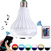 Amazon Lightning Deal 85% claimed: LightMe Intelligent E27 LED White + RGB Light Ball Bulb Colorful Lamp Smart Music Audio Bluetooth 3.0 Speaker with Remote Control for Home, Stage(White-3)