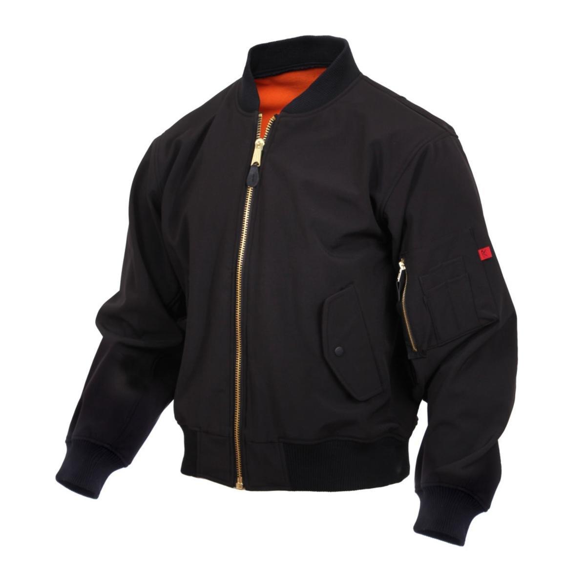 Rothco Soft Shell MA-1 Flight Jacket - Black B01KG9ESDO