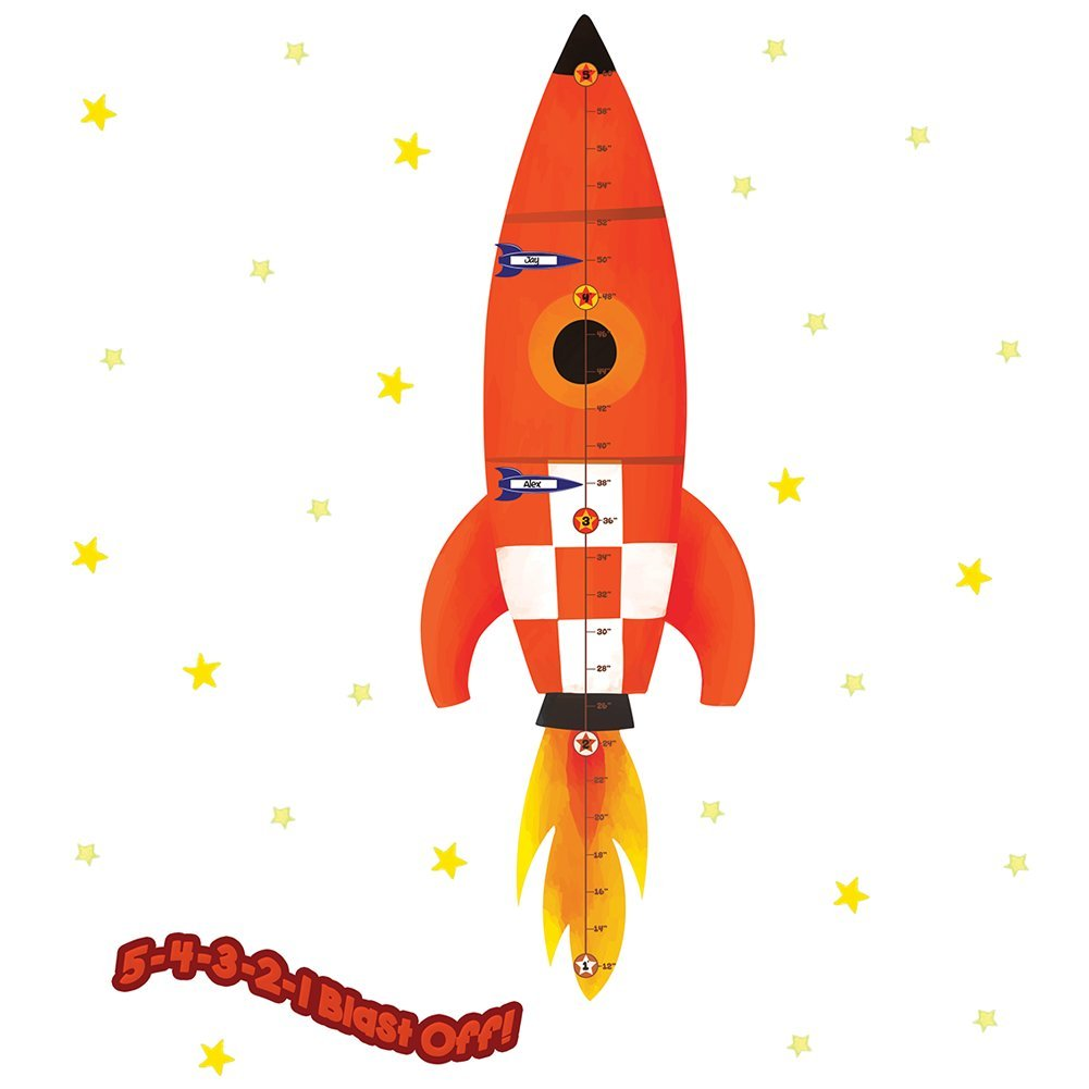 Rocketship Run! Peel & Stick Growth Chart Wall Decals - Laurie Berkner Edition