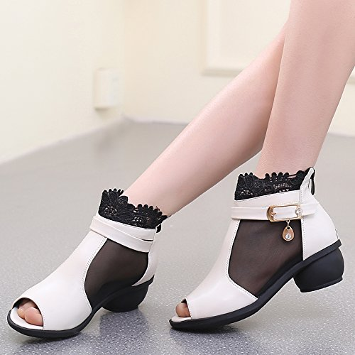 Abby 6825 Womens Charming Snug Peep Toe Blok Top Ademend Sexy Mesh Blokhak Modern Square Dance Sneakers Wit