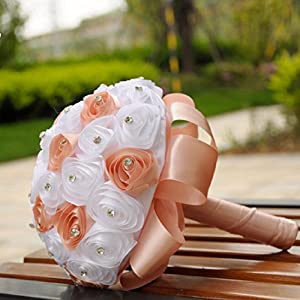 ChainSee 2017 Beautiful Design Crystal Roses Pearl Bridesmaid Wedding Bouquet Bridal Artificial Silk Flowers (orange) 2