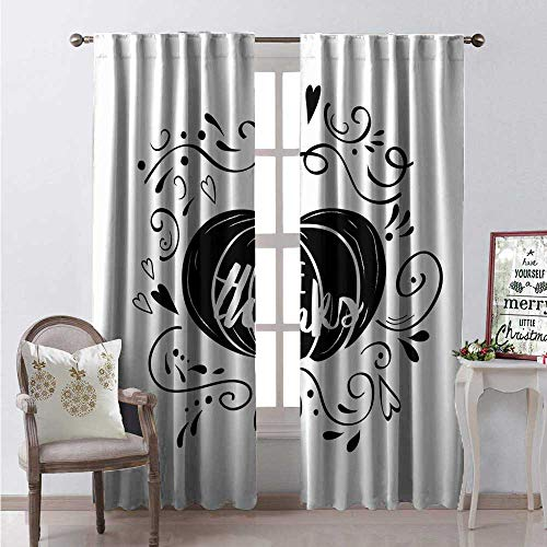 (Hengshu Thanksgiving Thermal Insulating Blackout Curtain Monochrome Give Thanks Calligraphy Swirls and Heart Frame Pumpkin Blackout Draperies for Bedroom W84 x L96 Charcoal Grey and White)