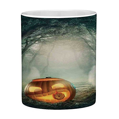 Lead Free Ceramic Coffee Mug Tea Cup White Halloween Decorations 11 Ounces Funny Coffee Mug Scary Halloween Pumpkin Enchanted Forest Mystic Twilight Party Art Orange Teal]()