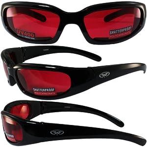 Global Vision Chicago Padded Riding Glasses (Black Frame/Red Lens)