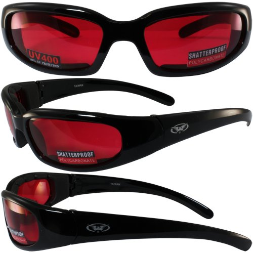 [Global Vision Chicago Padded Riding Glasses (Black Frame/Red Lens)] (Cyclops Glasses)