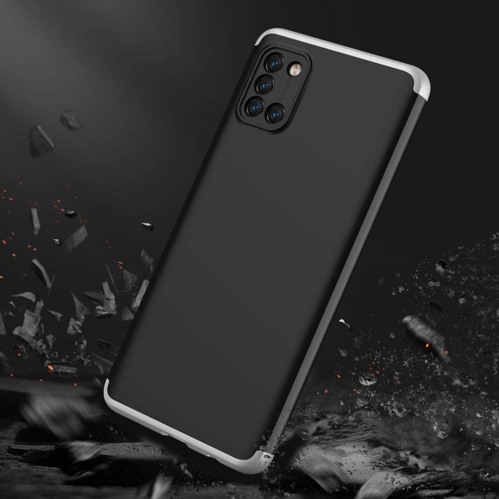 XJZ Compatible with Samsung Galaxy A51 4G PhoneCase 2020 +3D Screen protector tempered glass//Shell Ultra Thin Sturdy Cover Shockproof Bumper Protection Case for Galaxy A51-Black+Silver