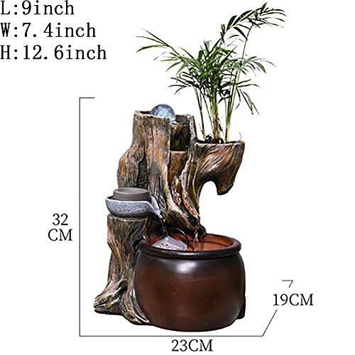 Statues Resin Handmade Ornaments, Water Ornaments Indoor Ornaments Lucky Transfer Ball Home Garden Plant-Flowing Water Ornaments 12.6inch