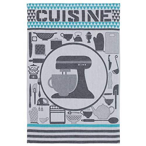 Coucke French Cotton Jacquard Towel French Table Collection, Ustensiles (Kitchen Tools) PJ, 20-Inches by 30-Inches, Black and Turquoise (Tools Collection Kitchen)