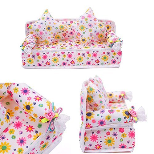 Mini Furniture Flower Sofa Couch +2 Cushions Kit Set For Barbie Doll House Accessories Kids Toy Gift