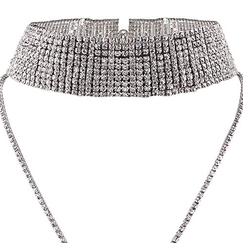 SDLM Womens Unique Full Rhinestones Choker Necklace Charm Long Chain Costume Jewelry,s