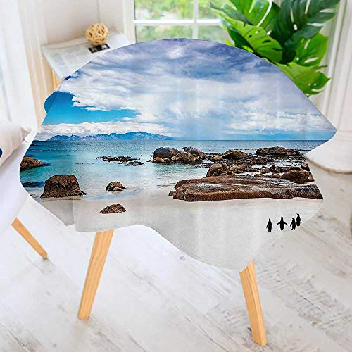 - Philiphome Round Tablecloth-Wild South African Coly Penguins Walking The ACH Coast Waddle Waterproof Wine Tablecloth Wedding Party Restaurant 63
