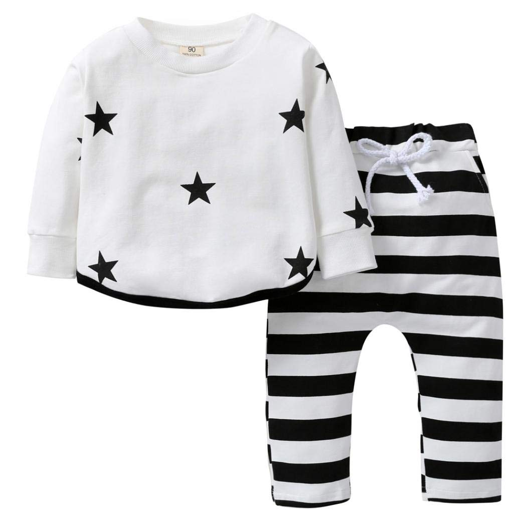 Sweatshirt Sets for 0-4 Y Little Kids,Jchen(TM) Toddler Infant Kids Girl Boy Long Sleeve Sweatshirt Tops Striped Pants Sport Outdoor Outfits (Age: 18-24 Months)