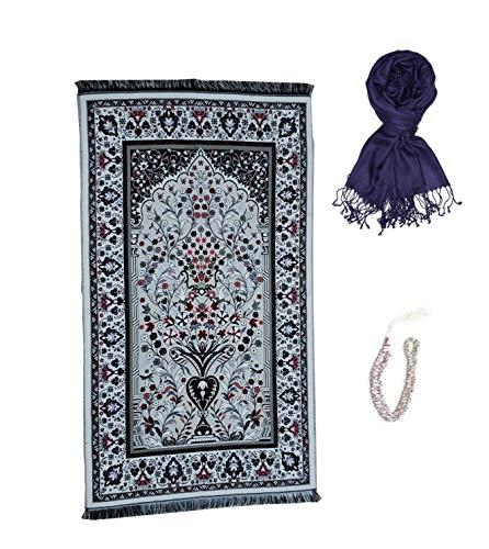 GURJHONS Turkish Prayer Rug with Pashmina Shawl Wrap Scarf and 99 Beads Muhammad Allah TASBIH, Zikir, Haj, Tasbeeh, Subha, Misbaha Beads (HALE) - Beads Scarf