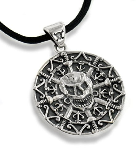 (Jolly Roger Pirate Skull and Crossbones Sword Antiqued Sterling Silver Medallion Pendant 24