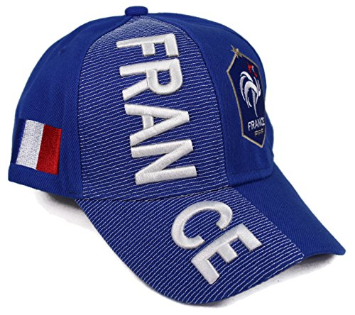 High End Hats Nations of Europe Hat Collection Embroidered Adjustable Baseball Cap, France with New FFF Logo, Blue