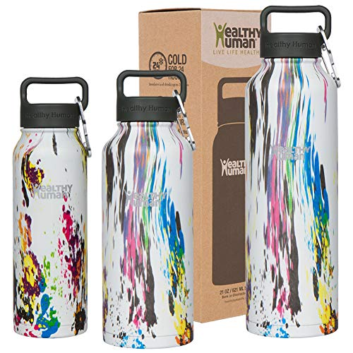 Healthy Human Stainless Steel Vacuum Insulated Water Bottle | Keeps Cold 24 Hours, Hot 12 Hours | Double Walled Water Bottle | Carabiner and Hydro Guide | 40 oz Art Deco