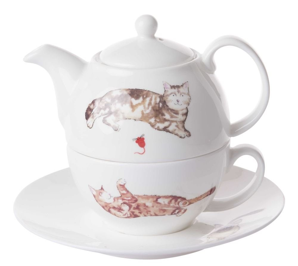 Roy Kirkham Cats Tea for One Teapot, Cup and Saucer