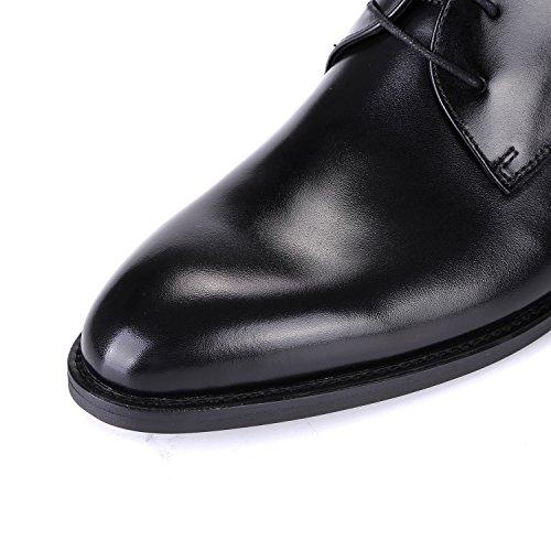 Derby Schoenen Voor Mannen Oxford Lederen Jurk Lace-up Puntschoen Zakelijke Formele Bruiloft Door Santimon Schoenen Zwart Zwart