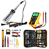 Soldering Iron Kit Electronics, 27 in1 DIY Electric Soldering Iron Digital Multimeter Adjustable Temperature Welding Tool 2pcs Soldering Iron Tips,Soldering Iron Stand With Tool Carry Bag