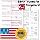 1099-MISC Tax Forms for 2018 Returns - 3 Part Kit - 25 Pack + 1096 Laser Transmittals - 8.5''x11''inches - IRS Approved