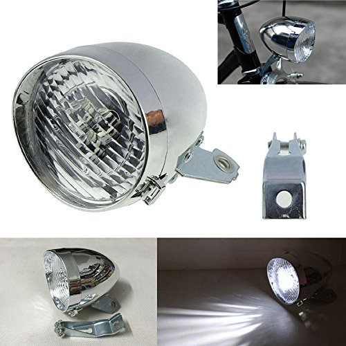 GOODKSSOP 3 LED Classical Cool Silver Vintage Retro Cycling Front Light For Bicycle Headlight Retro Bike Fog Head Lamp Night Riding Safety Headlamp With Bracket