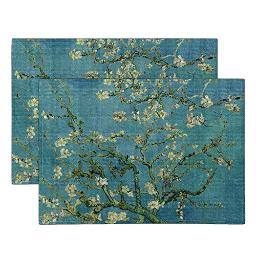 WIRESTER Placemats 17.7 x 12.6 inch, Set of 2 Cotton Linen Polyester Table Mats for Kitchen Dining Table Decoration - Almond Blossom Van Gogh