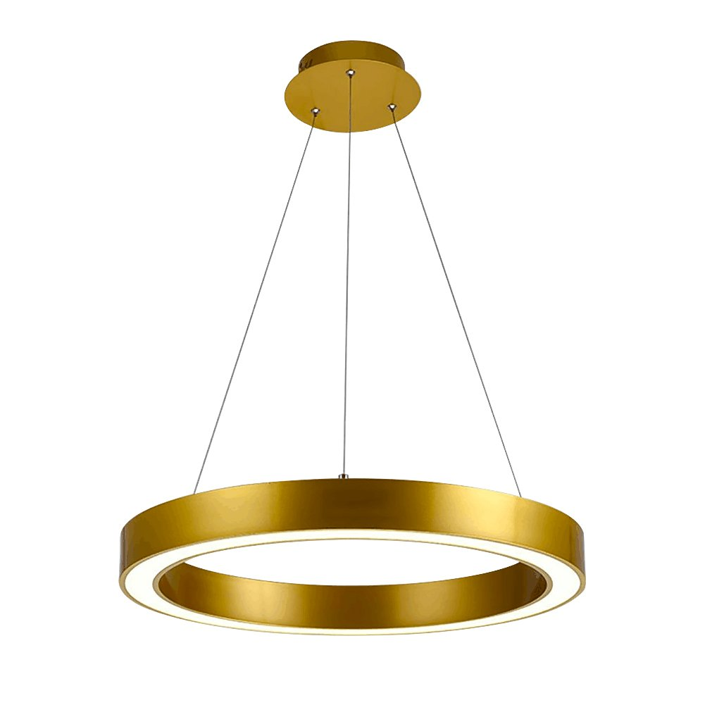 Siminda Crystal Chandelier Dimmable Cut Crystal LED Pendant With Round Rings Ceiling Light Fixture Gold 39.3 Inch 6500K White light