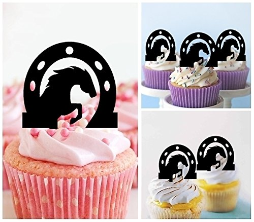 TA0379 Horse Inside Horseshoe Silhouette Party Wedding Birthday Acrylic Cupcake Toppers Decor 10 pcs by jjphonecase (Image #1)